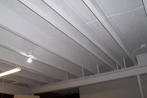 painted ceiling i-beam joists