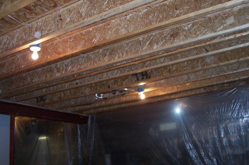 unfinished i-beam ceiling joists