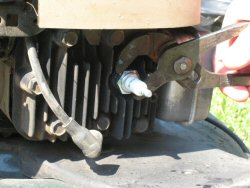 how to change sparkplug on a lawnmower (craftsman)