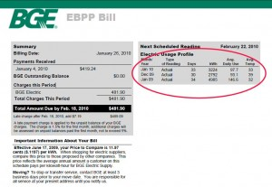 Energy Bill Showing Energy Savings