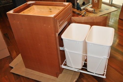 trash can kitchen cabinet with fully extended trash cans