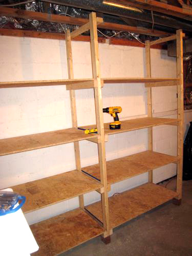 how to build wood shelves for basement 2