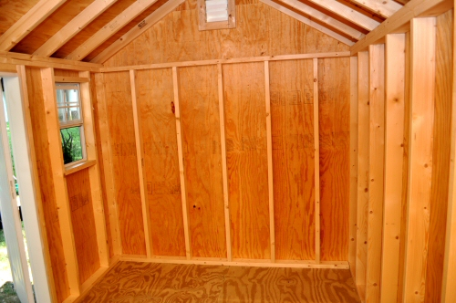 This shed is a high-quality build, with 2×4 studs 16″ on center, 3 ...