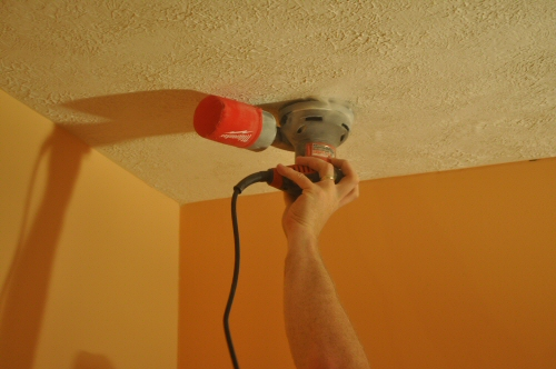 How to Remove a Stipple Ceiling by Sanding - One Project Closer