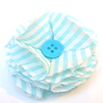 French Pouf Circle with button fabric flower