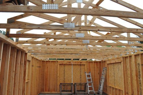 Building an addition day 10 roof framing sheathing Pre manufactured roof trusses