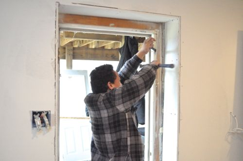 framing blocking door jamb insulation brick molding and threshold