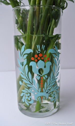 Dollar Store Vase with Glass Paint - OPC The Better Half