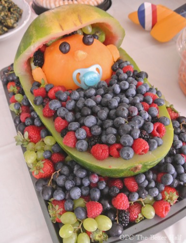 watermelon baby carriage and other vintage biplane baby shower ideas