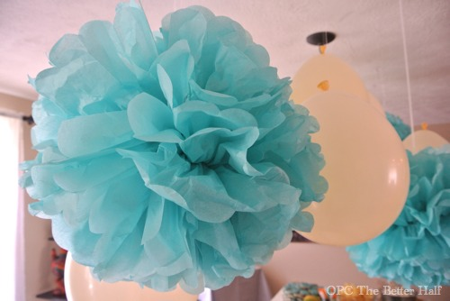 Aqua Tissue Poms and Vintage Biplane Baby Shower Ideas - OPC The Better Half