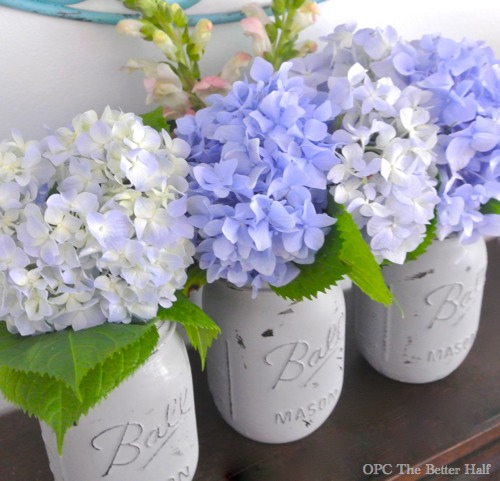 Painted Mason Jars with Flowers from OPC The Better Half