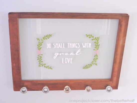 Painted Antique Window with Glass Knobs with free printable - One Project Closer
