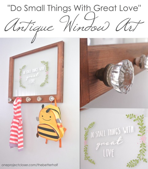 Window Art using paint and antique knobs - from One Project Closer