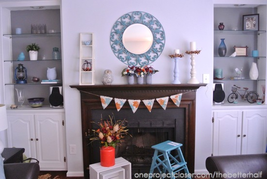 Fall living room decor and mantel - One Project Closer