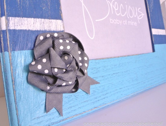 DIY Wooden Frames with a fabric flower, with Free Printable - One Project Closer