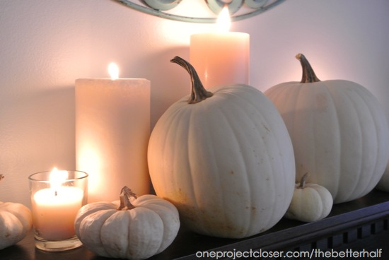White Pumpkins and Candles - One Project Closer