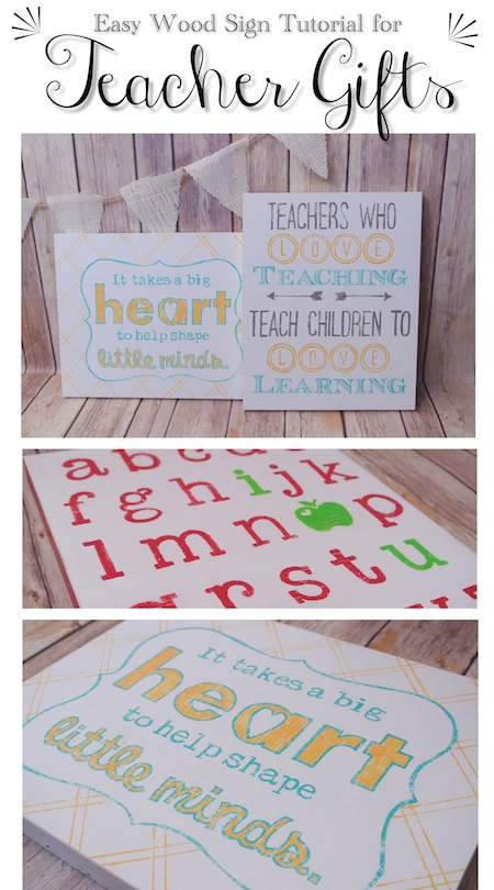 Homemade teacher gifts: Easy Wooden Sign Tutorial from One Project Closer