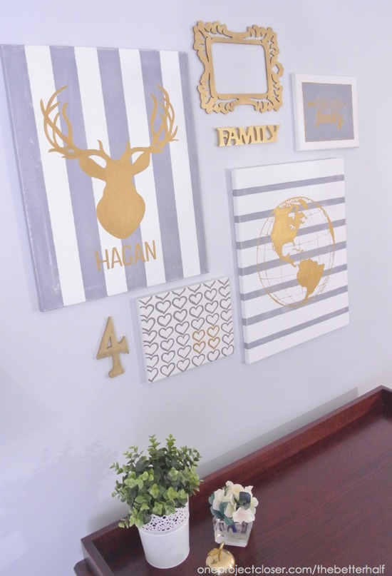 Gold and Gray Gallery Wall with DIY canvases - One Project Closer