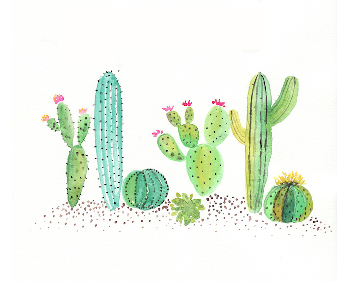 Free Watercolor Cactus Printable One Project Closer